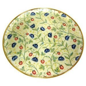 "Keswick & Arnold Designs Service Trays Keswick & Arnold Designs Strawberry & Cornflower 12"" Round Tray"