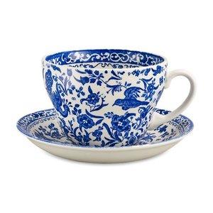 Burleigh Pottery Regal Peacock Blue Breakfast Cup & Saucer