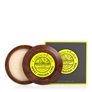 C&E West Indian Lime Shave Soap in a Wooden Bowl