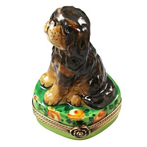 Rochard Limoges Limoges Black and Tan King Charles Spaniel Box