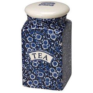 Burleigh Pottery Calico Blue Square Storage Jar - Tea