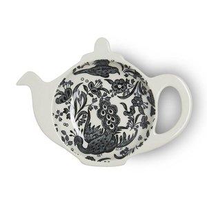 Burleigh Pottery Regal Peacock Black Mini Teapot Tea Bag Holder - Boxed
