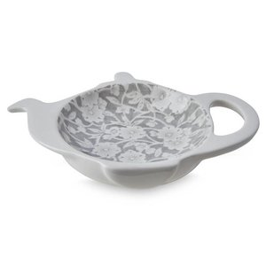 Burleigh Pottery Calico Grey Mini Teapot Tea Bag Holder - Boxed