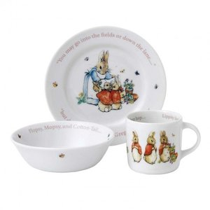 Beatrix Potter Peter Rabbit Girl's Plate, Bowl & Mug 3-Piece Set