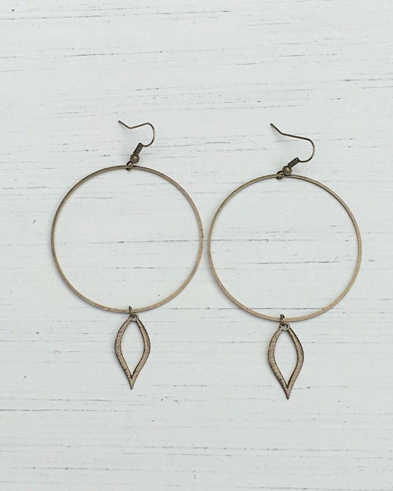 Large Circle Hoops with Open Leaf