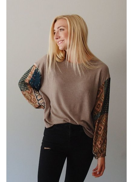 The Ansley Top in Taupe
