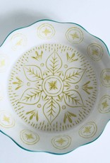 Stoneware Pie Dish Sage with Aqua Edge