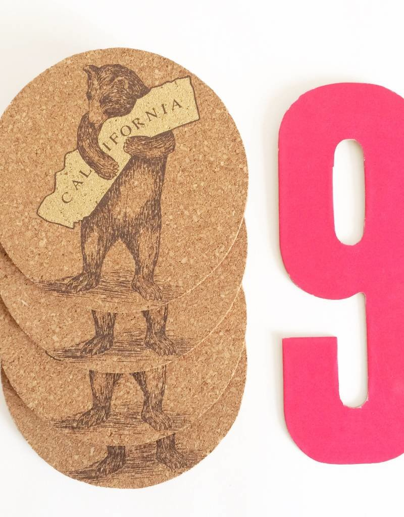 CA BEAR CORK COASTERS IN POUCH