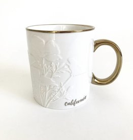 Metallic Gold/White CA Poppy Mug