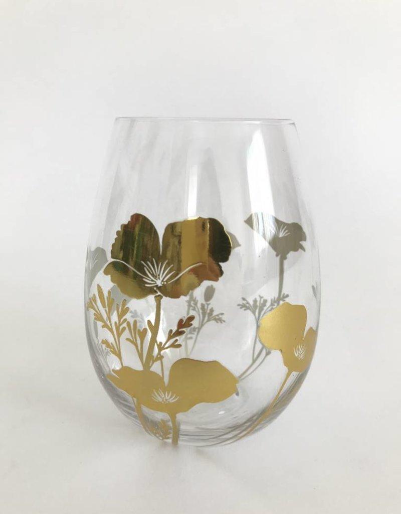 Metallic Gold Poppy Stemless Wine Glass