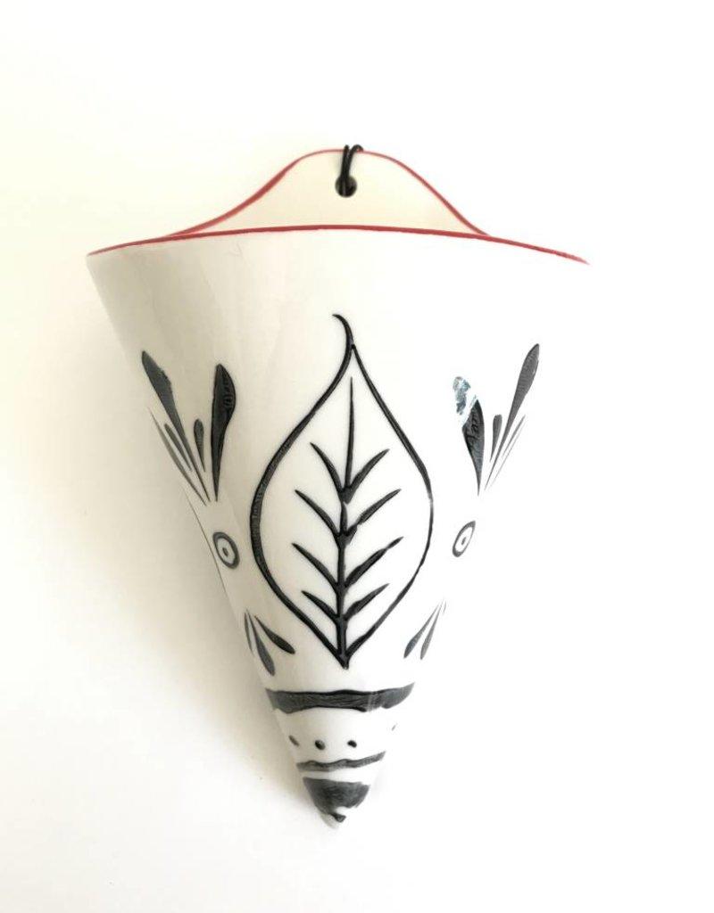 """Stoneware Wall Cone Vase 8""""H X 5""""W"""
