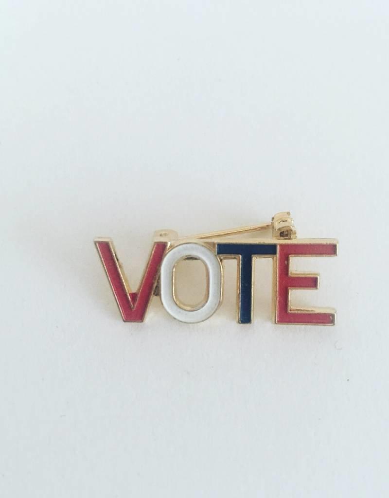 WOLF E MYROW Vintage Vote Pin Gold