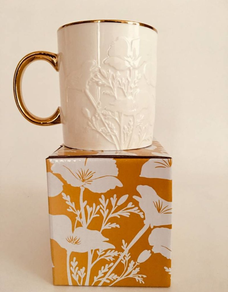 Metallic Gold/White CA Poppy Mug