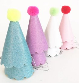 Party Hats with Pom Poms Set of 8