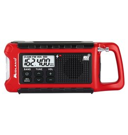 Midland Radio Corp Midland E+Ready Compact Emergency Crank WX Radio (ER210 Radio w/ Rechargeable Battery, Micro USB Charging Cable, & Owner's Manual)