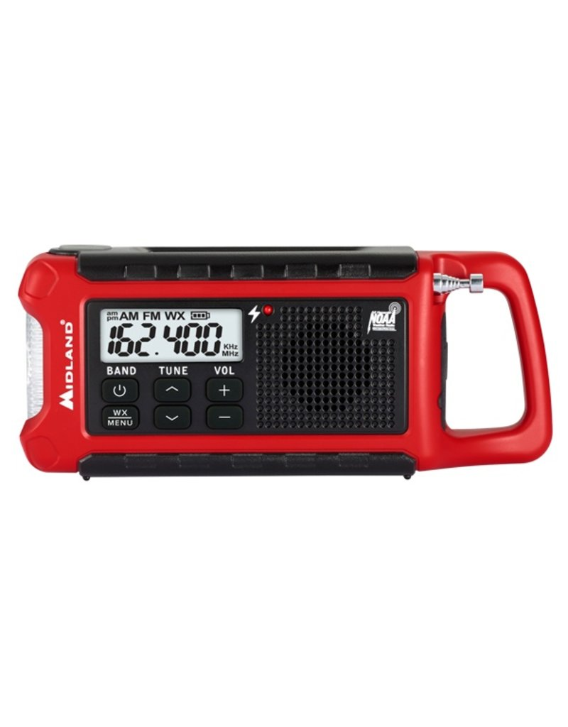 Midland Radio Corp Midland E+Ready Compact Emergency Crank WX Radio (ER210 Radio w/ Rechargeable Battery, Micro USB Charging Cable, & Owner's Manual) (ER210)