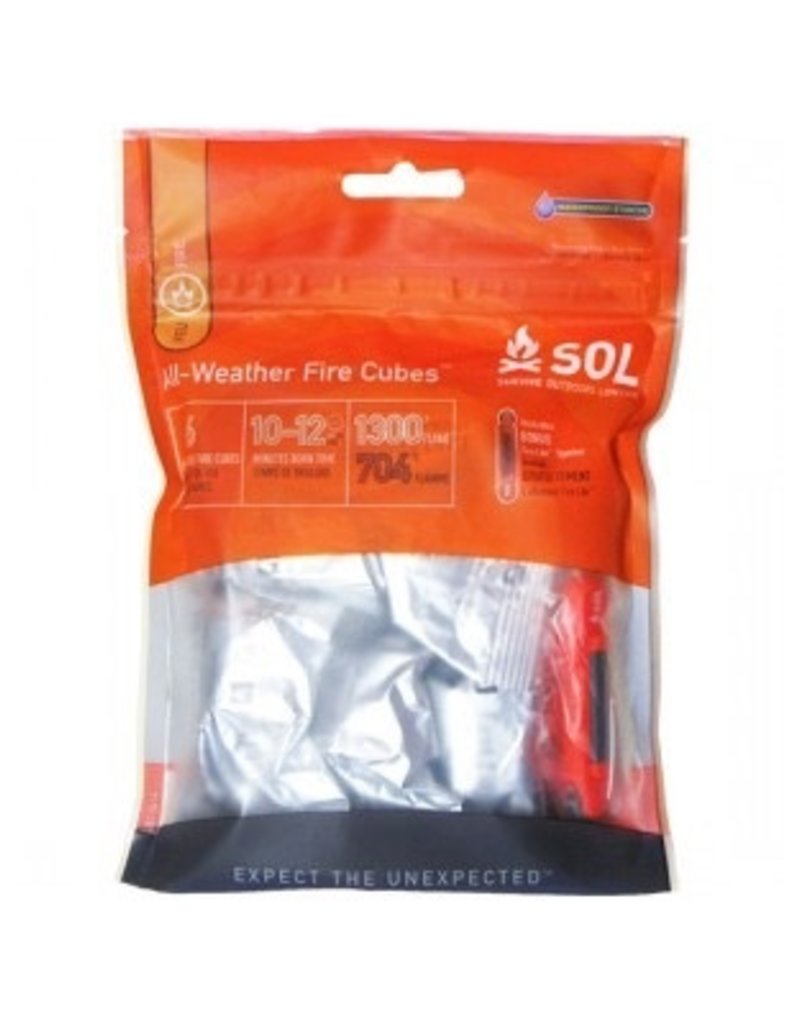 """Adventure Medical SOL Survive Outdoors Longer All-Weather Fire Cubes 7.5""""x1.5""""x5"""" .025lbs"""