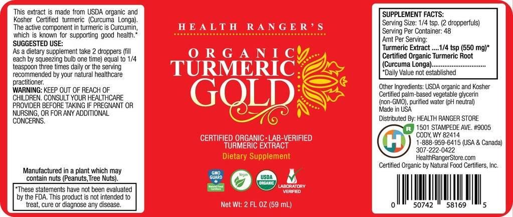 Health Ranger HR Organic Turmeric Gold liquid extract 2 fl oz