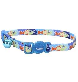 "Coastal 3/8"" Safety Cat Collar Blue Fish 12"""