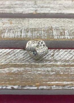 Ring Italian Sterling Silver CZ Heart Ring Sz 6