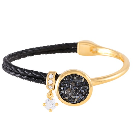 Bracelet In Mixed Media And Crystal Rock Y Gold Silver Night
