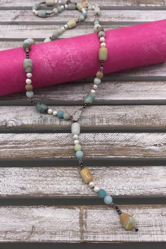 Amazonite with Pearls and Adjustable Leaf Necklace