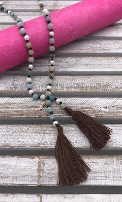 Amazonite/Pearl Tassel Necklace