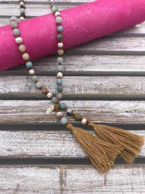 Amazonite and Pearl Tassel Tan Necklace