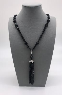 Black Crystal Beaded Necklace with Removable Tassel