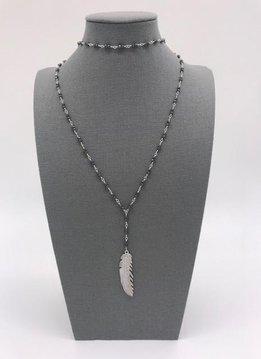 Black Seed Bead w/Feather Lariat/Choker