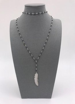 Black Seed Bead with Feather Layered Necklace and Choker