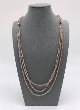Champaign Crystal Bead 3 in 1 Necklace