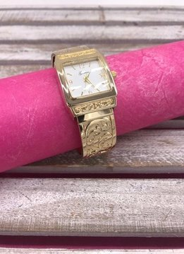 Gold Swirly Embossed Cuff Watch