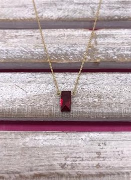 Lovely Rectangular Faux Red Diamond Necklace