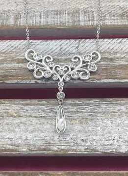 Swarovski Crystal Silver Bib Necklace
