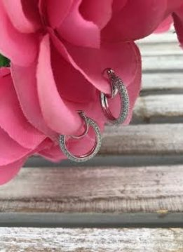 Sterling Silver and Cubic Zirconia Pave Hoop Earrings