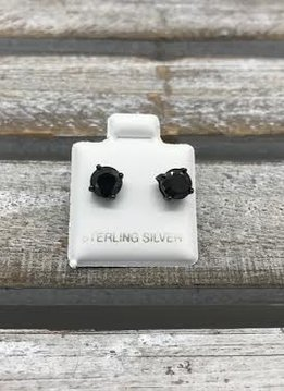 Sterling Silver Black Plated Cubic Zirconia Stud 6mm Earrings