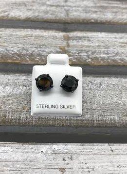 Sterling Silver Black Plated Cubic Zirconia Stud 8mm Earrings