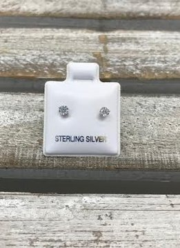 Sterling Silver Cubic Zirconia Stud 3mm Earrings