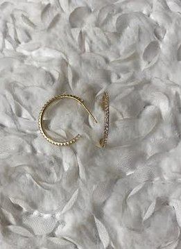Sterling Silver Gold Plated Semi Hoop Earring Paved