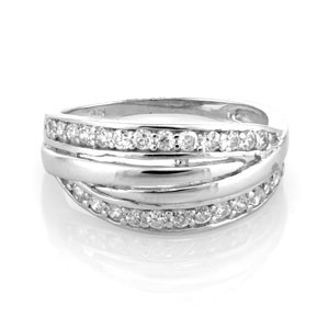 Sterling Silver Multiple Strand CLear CZ Ring SZ7