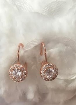 Sterling Silver Rose Gold Plated Cz Solitaire Earring