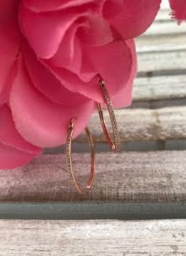 Sterling Silver Rose Gold Plated Hoop Earrings With Pave Cubic Zirconia Stones