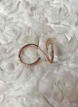 Sterling Silver Rose Gold Plated Semi Hoop Earring Paved