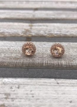 Sterling Silver Rose Gold Round Halo Morganite Stud Earrings