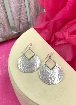 Sterling Silver Pear Hammered Earrings