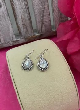 Sterling Silver Pear Shape Roman Glass Dangling Earrings