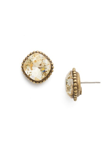 Sorrelli Gold Earrings Crystal Champagne