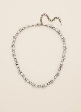 Pear Parade Line Necklace in White Bridal