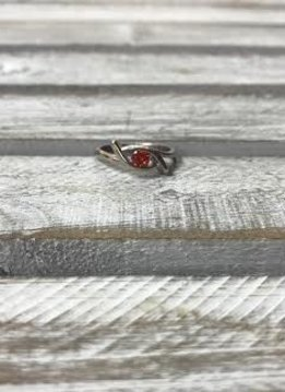 Stainless Steel Ring with Red Stone